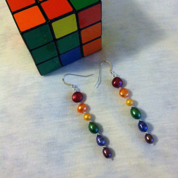 Rainbow Pearl Earrings Handmade Multicolored Beaded Earrings Trendy Fun Jewelry Biblical Themed Genesis 9:12-14 Noahic Covenant Earrings