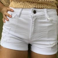 Kan Can Destructed Shorts- White