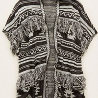 Aerie Women's Hooded Fringe Cardi (Charcoal Heather)