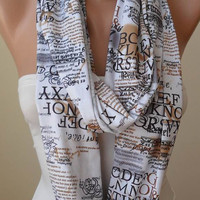New - Infinity Scarf - White - Written Scarf - Cotton Jersey
