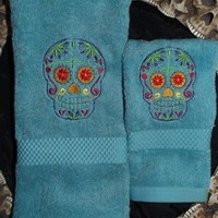 Sugar Skull Day Of The Dead Hand Towel and Washcloth from Cognitive Fashioned