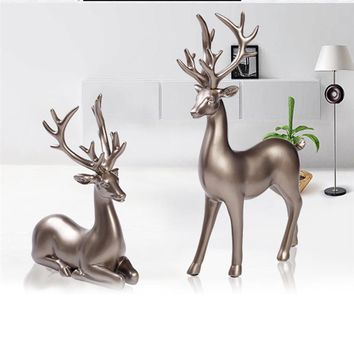 Creative Couple Deer Crafts Silver Ornaments Living Room Bedroom Decoration Home Furnishing Decor Decoration