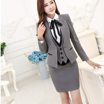 Plus Size Autumn Winter Formal Professional Business Suits 3 pieces Jackets + Skirt + Vest Ladies Blazers Outfits Set OL Styles