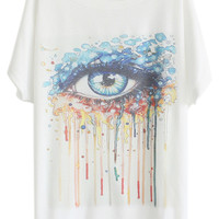 ROMWE Flowing Colorful Tears Eye Print White T-shirt