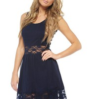 AX Paris Women's Chiffon Lace Cut Out Skater Dress