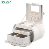 Leather Necklace Jewelry Box Lockable