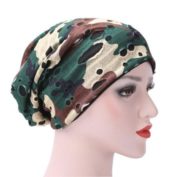 New Arrival Winter Women India Hat Muslim Ruffle Cancer Chemo Hat Beanie Scarf Turban Head Wrap Holes Cap