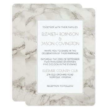Faux Marble Alabaster Modern Classy Wedding Invite