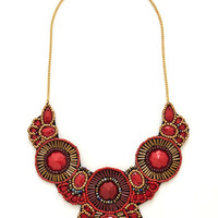 ModCloth Boho Medallion Marvel Necklace in Crimson