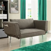 Modern Euro Style Futon Sofa Bed with Metal Legs in Gray Upholstery