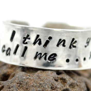 "Sterling Silver Doctor Who Ring - I Think You Call Me...Sexy, Hand Stamped 3/8"" Idris / Tardis Adjustable Ring"