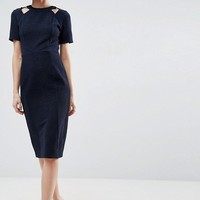 ASOS Textured Structured Dress with Cut Outs at asos.com