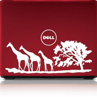 3 Giraffes Safari Tree Laptop Decal Sticker Wall Vinyl Art Design