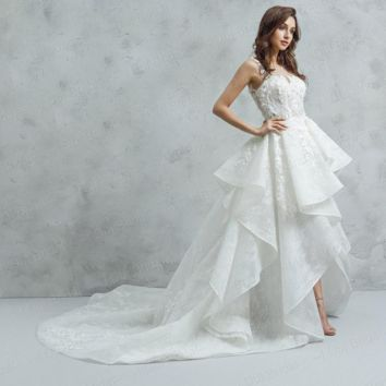 High Low Wedding Dresses Short Front Long Back with Lace Ruffles Ball Gown
