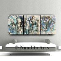 "Painting, Original painting 72"" Extra large wall art, Blue abstract paintings on canvas modern living room wall decor"