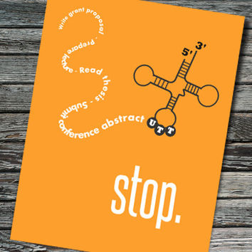 Stop Codon Nerdy Retirement Card | Molecular Biology, Chemistry, RNA, tRNA, UTT, Protein | Professor, Teacher, Scientist, Colleague