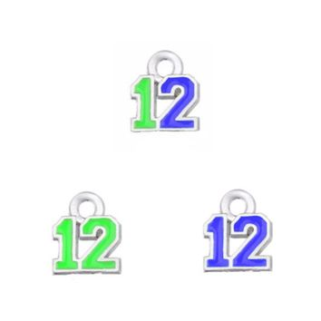 Newest 3 Style Enamel Football Team The Forever Seahawks 12 Dangle Charm For DIY Earring Necklace Bracelet