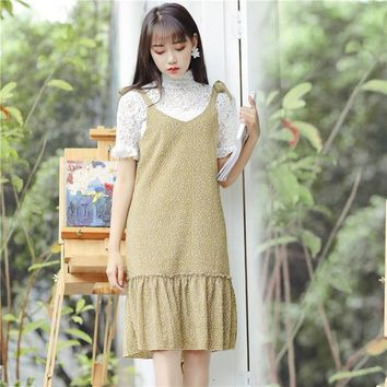 2018 korea Summer Women Casual Wear dress Literary small fresh bow strap sling Floral vintage Maxi Vadim chiffon Dresses