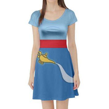Genie Aladdin Inspired Short Sleeve Skater Dress