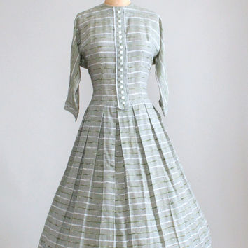 Vintage 1950s Green Gingham Cotton Day Dress