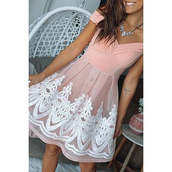 Blush Off Shoulder Short Dress with Embroidery