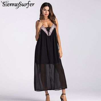 Summer Beach Dress Cover Up Wear Women's Plus Size Women Towel Ups Couture Chiffon Embroidered Stitching Beach Skirt Jumpsuit