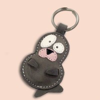 Snowy The Cute Little Seal Pup Leather Animal Keychain - FREE shipping