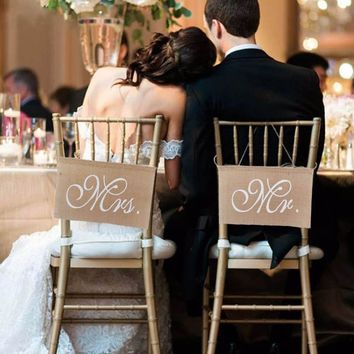 Mr and Mrs Tag Burlap Chair Banner Sign Garland Rustic Wedding Party Decoration