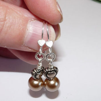 Silver and Antique Gold Wirework Earrings - Silver Plated, Heart Charms, Gold Faux Pearls, Pierced Ears, Hand Crafted, Hand Forged
