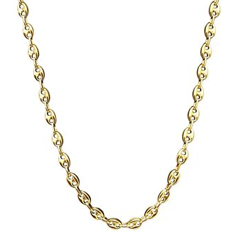 14K Solid Yellow Gold Puffed Anchor Chain Necklace - 8mm