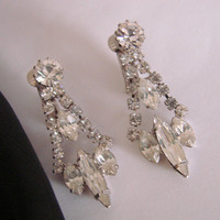 Vintage Rhinestone Chandelier Silver Tone Clip Earrings * Dangle * Drop * Mid Century * Navettes * Chatons * Wedding * Bridal * Jewelry