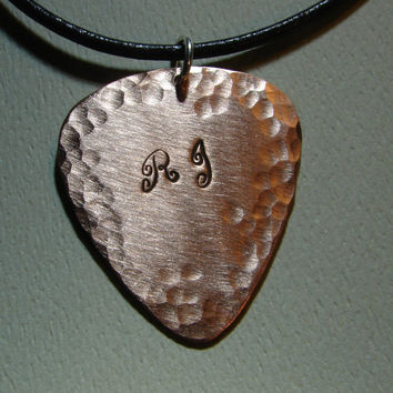Monogram Copper Guitar Pick Pendant Personalized for You