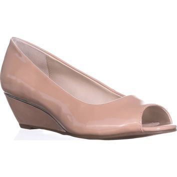 A35 Cammi Peep Toe Wedge Heels, Blush, 8 US