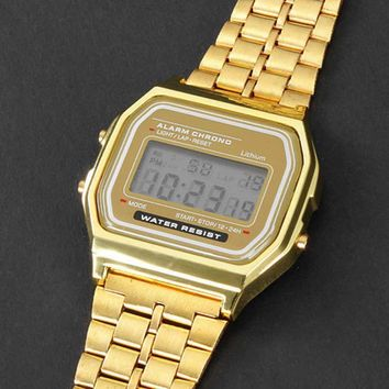 Gold LCD Watch Digital Retro Stainless Steel Watch Square Military Men Women Dress Sports Stopwatch watches New Fashion