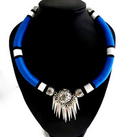 Royal blue necklace Tribal statement African necklace Masai jewelry Tribal rope necklace Funky statement necklace African jewelry Bohemian