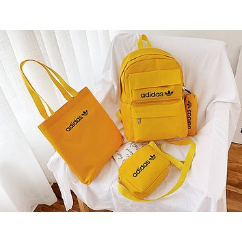 ADIDAS hot seller casual ladies shopping stylish canvas four-piece one-shoulder bag Yellow