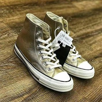 """Converse"" Fashion Sneakers Sport Shoes - Gold white"