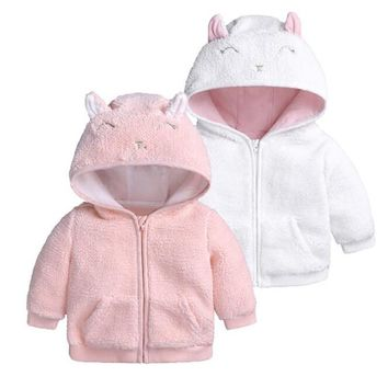 New Cute Autumn Winter Outwear Baby Boys Girls Warm Flannel Clothing Newborn Winter Jackets Hooded Long Sleeve Baby Coat
