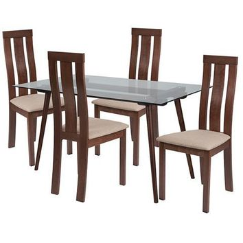 Lindsay 5 Piece Walnut Wood Dining Table Set with Glass Top and Vertical Wide Slat Back Wood Dining Chairs - Padded Seats