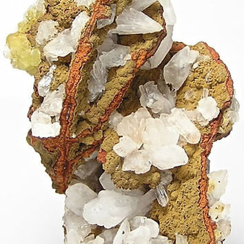 White Hemimorphite Yellow Adamite Crystal Cluster Natural Mineral Specimen
