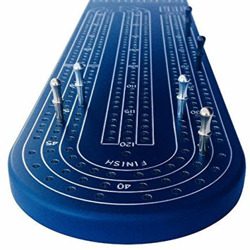 Quality Blue Cribbage Board by Gapple Durable Aluminum Material Precise Engraving Gorgeous Anodized Finish Color Variety Metal Scoring Pegs and Convenient Peg Storage '