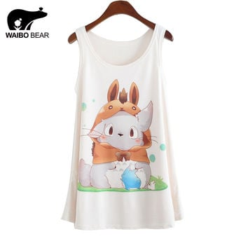 2015 New anime totoro Printing Tank Tops camisole Womens Sleeveless T Shirt Tee Vest cami Loose plus-size camisole tank DMLM8134