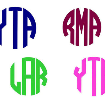 Circle Monogram Vinyl Decal