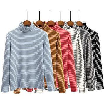 6 colors 2016 autumn and winter Turtleneck long-sleeve stripe  womens tee shirt femme (A8647)