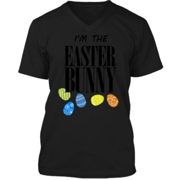 Funny Easter Costume T-Shirt - Im The Easter Bunny Shirt Mens Printed V-Neck T