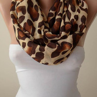 Mother's Day - Beige - Caramel and Brown Leopard  Infinity Scarf - Soft Cotton Fabric