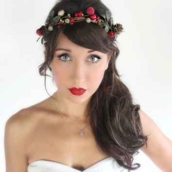 Holiday Red & Green Rustic, Headband, Crown, Christmas, Winter Headpiece, Wedding, Holly berries, pinecones,