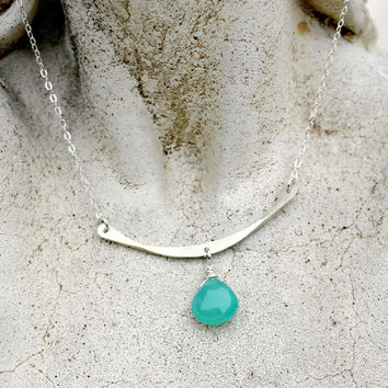 Silver Bar Gemstone Necklace, Sterling, Teal Gemstone, Minimalist, Gift for Her