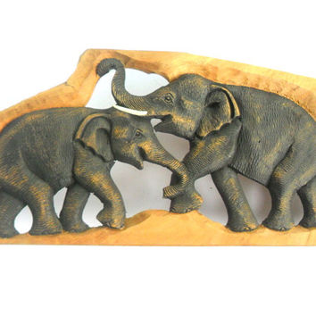 "Hand Carved Elephant Wood Carving Elephant Natural Teak Wood  Elephant Handmade Wooden Elephant Art Home Decor / Gift 23""x8.25""x0.75"""
