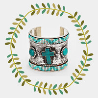 Tribal Cross Beaded Cuff Bracelet, Boho Turquoise Silver Jewelry